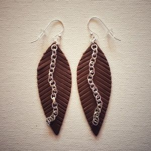 handmade genuine leather chocolate leaf earrings
